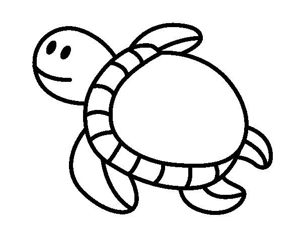 Dibujo de Tortuga nadando para Colorear - Dibujos.net