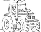 Dibujo de Tractor en funcionamiento para colorear