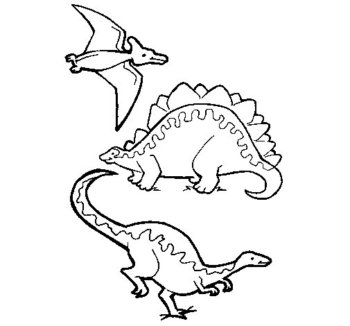 Dibujo de Tres clases de dinosaurios para Colorear