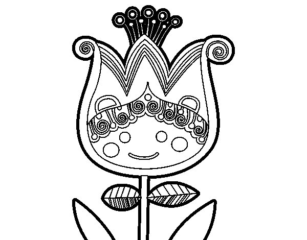 Dibujo de Tulipa infantil para Colorear