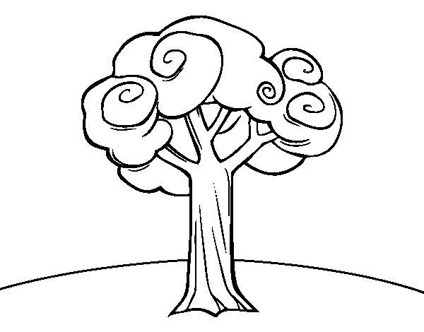 Dibujos De Arboles Coloreados: Dibujo De Un árbol Grande Para Colorear