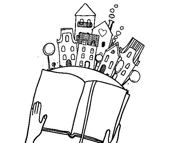 Dibujo de Un cuento en la ciudad para Colorear