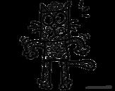 Dibujo de Un gato con lunares para colorear