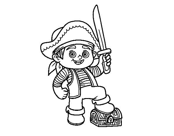 Dibujo de Un niño pirata para Colorear