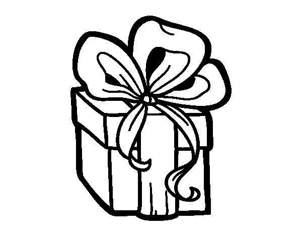 Dibujo de un regalo de navidad para colorear - Dibujos decorativos de navidad ...