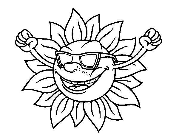 Dibujos Del Sol Para Colorear E Imprimir: Dibujo De Un Sol Con Gafas De Sol Para Colorear