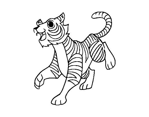 Dibujo de Un tigre de bengala para Colorear