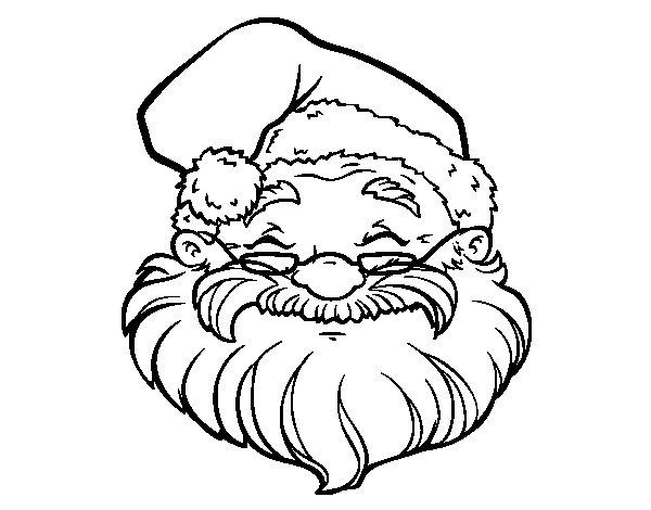 Dibujo de Una cara de Papá Noel para Colorear - Dibujos.net