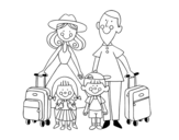 Dibujo de Una familia de vacaciones para colorear