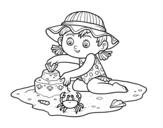 Dibujo de Una niña jugando en la playa