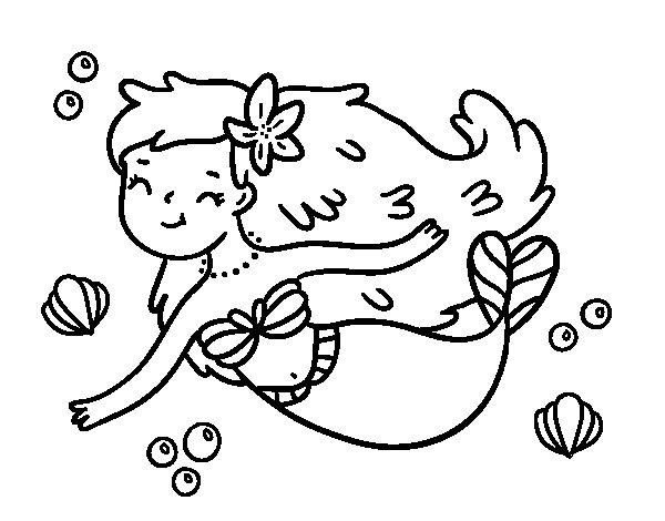 Dibujo de Una sirena feliz para Colorear