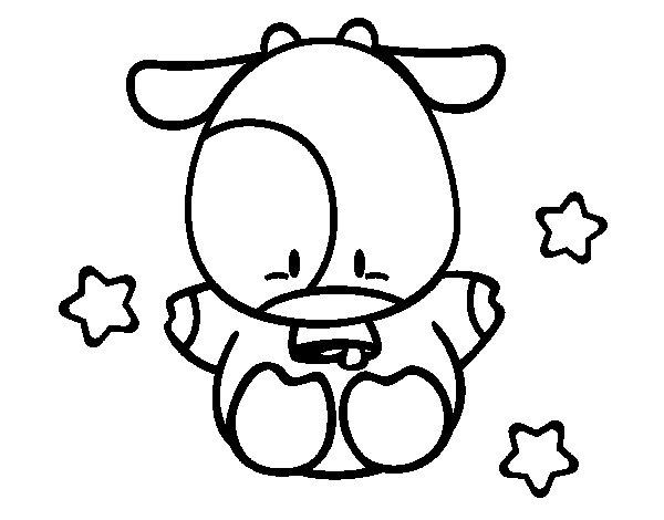 Dibujos De Vacas Animadas Para Colorear: Dibujo De Vaca Pequeña Para Colorear