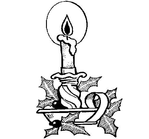 Dibujo de Vela de navidad 1 para Colorear