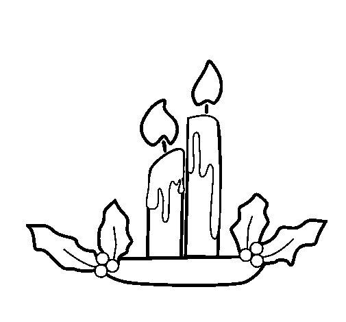 Dibujo de Velas de navidad para Colorear