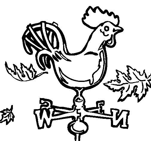 Dibujo de Veletas y gallo para Colorear