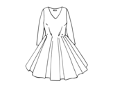 Dibujo de Vestido con falda de vuelo para colorear