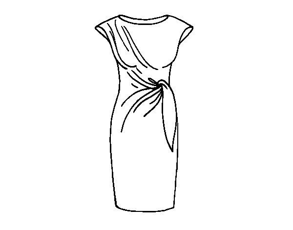 Dibujos De Ropa Para Colorear E Imprimir: Dibujo De Vestido Elegante Para Colorear