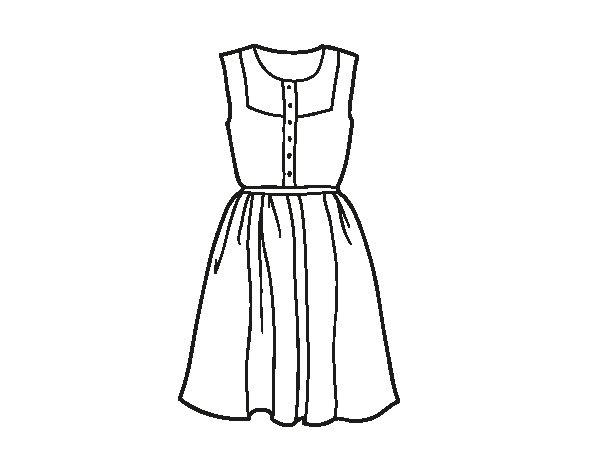 Dibujo de Vestido veraniego para Colorear - Dibujos.net