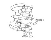 Dibujo de Vikingo con gran hacha para colorear