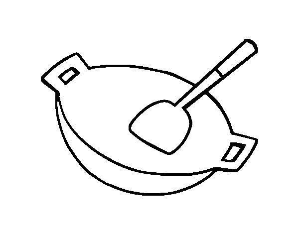 Dibujo de wok para colorear - Utensilios de cocina para pintar ...