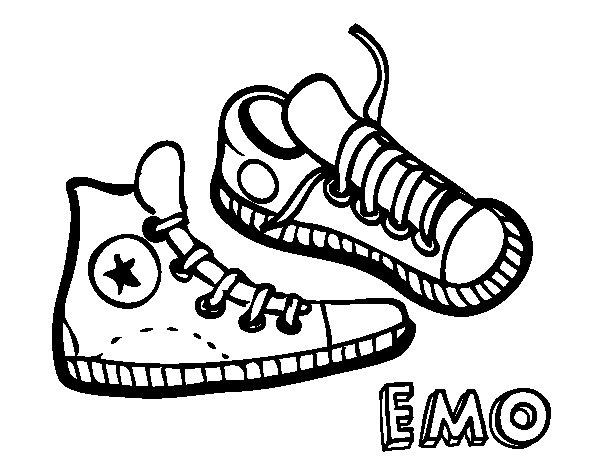 Dibujo de Zapatillas para Colorear