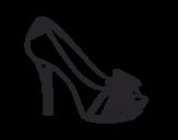 Dibujo de Zapato de plataforma con lazo para colorear