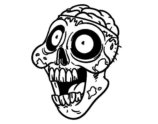 Dibujos De Zombies Para Imprimir Y Colorear: Dibujo De Zombi Malo Para Colorear