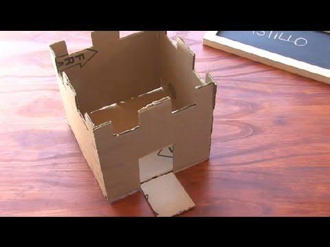 V deo de c mo hacer un castillo de cart n - Como construir un zapatero ...