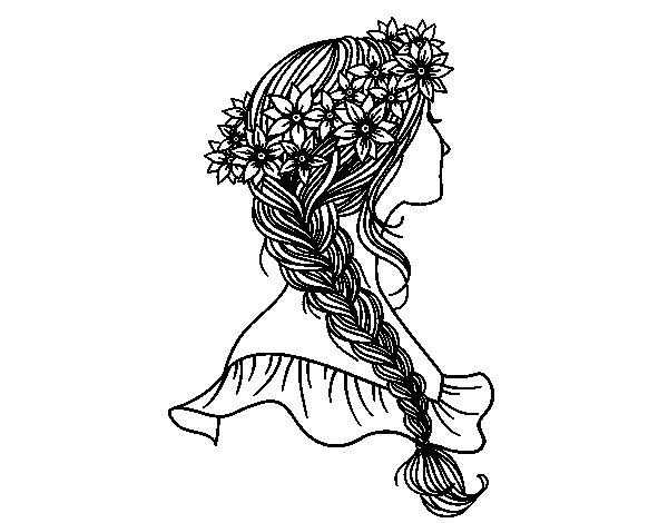 Lo más universal peinados dibujos Fotos de cortes de pelo tendencias - Dibujo de Peinado con trenza para Colorear - Dibujos.net